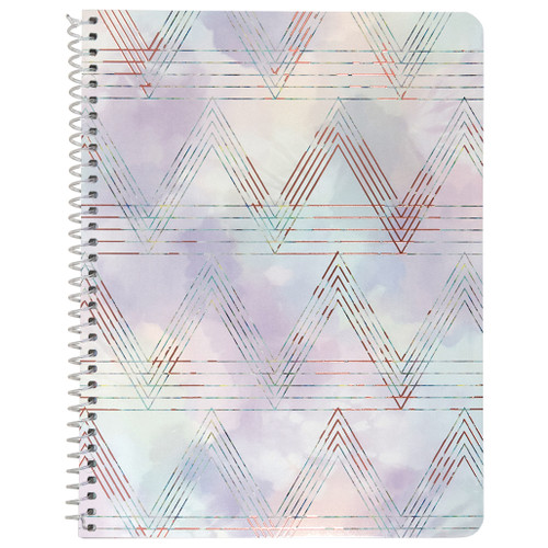 Watercolor Geo, Zig Zag Wirebound Notebook, Wide Rule, 70 Sheets, Rose Gold Foil Accent