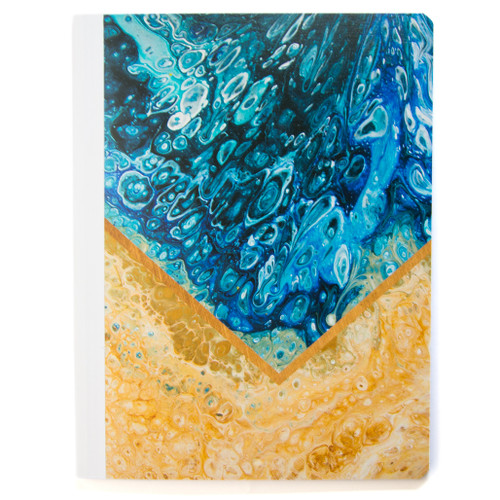 Lily & Huck Marbled Blue & Tan Composition Book, Wide Rule, 80 Sheets