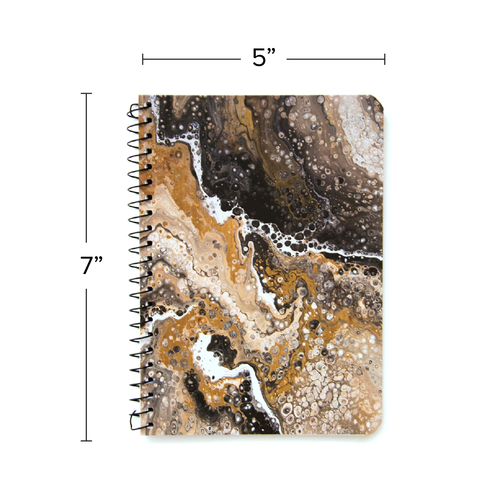 """Lily & Huck Marbled Black & Brown Personal Notebook, College Rule, 7"""" x 5"""", 100 Sheets"""
