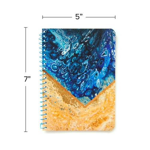 """Lily & Huck Marbled Blue & Tan Personal Notebook, College Rule, 7"""" x 5"""", 100 Sheets"""