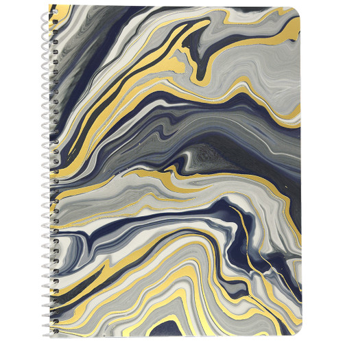 Terrazzo & Marble Wirebound Notebook, Wide Rule, 70 Sheets, Navy & Gold Foil