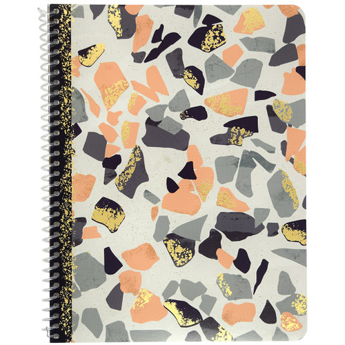 Terrazzo & Marble Wirebound Notebook, Wide Rule, 70 Sheets, Coral & Gold Foil