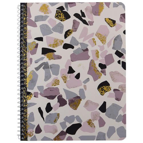 Terrazzo & Marble Wirebound Notebook, Wide Rule, 70 Sheets, Purple & Gold Foil