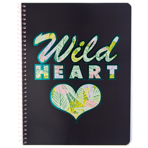 Uptown Girl Wild Heart Wirebound Notebook, Wide Rule, 70 Sheets, Iridescent Foil Accent