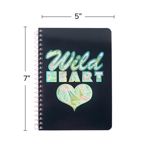 """Uptown Girl Wild Heart Personal Wirebound Notebook, College Rule, 7"""" x 5"""", 100 Sheets, Iridescent Foil Accent"""