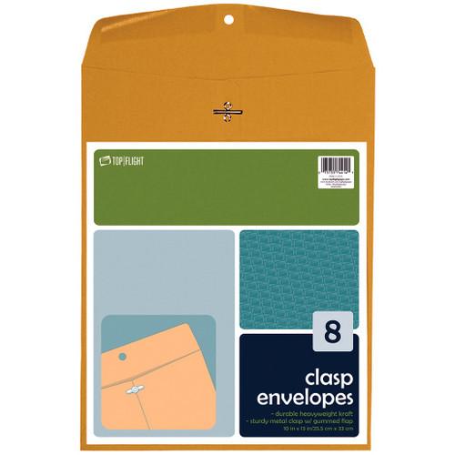 "Kraft Envelopes, Double Prong Clasp, Gummed, 10"" x 13"", 8 pack"