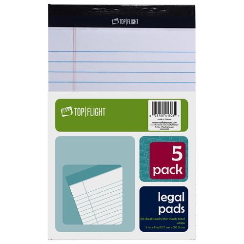 "Legal Pad, 5"" x 8"", 50 sheets per pad, White, 5 Pads Per Pack"