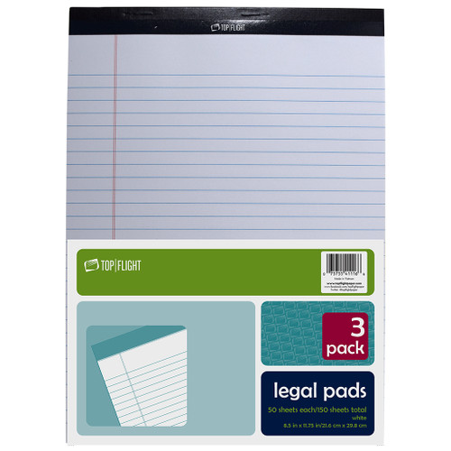 """Legal Pad, 8.5"""" x 11.75"""", 50 Sheets, White, 3 Pads Per Pack"""