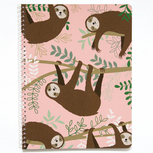 Adorable Animals Sloth Wirebound Notebook, Wide Rule, 70 Sheets, Soft Touch Cover