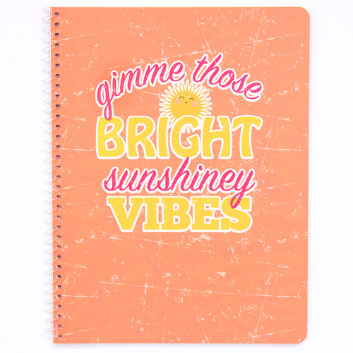 Uptown Girl Sunshiney Vibes Wirebound Notebook, Wide Rule, 70 Sheets
