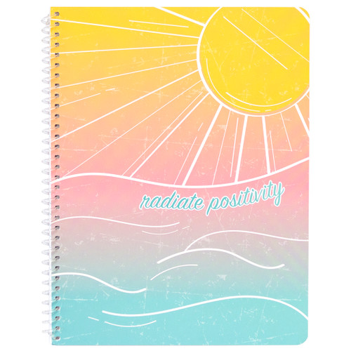 Uptown Girl Radiate Positivity Wirebound Notebook, Wide Rule, 70 Sheets