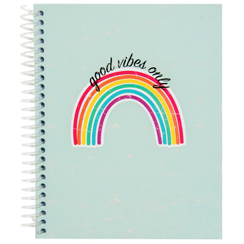 Uptown Girl Good Vibes Only Wirebound Journal Notebook, 140 Color Edge Sheets