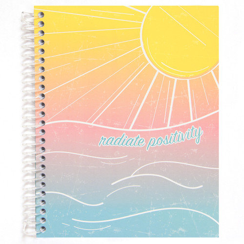 Uptown Girl Radiate Positivity Wirebound Journal Notebook, 140 Color Edge Sheets