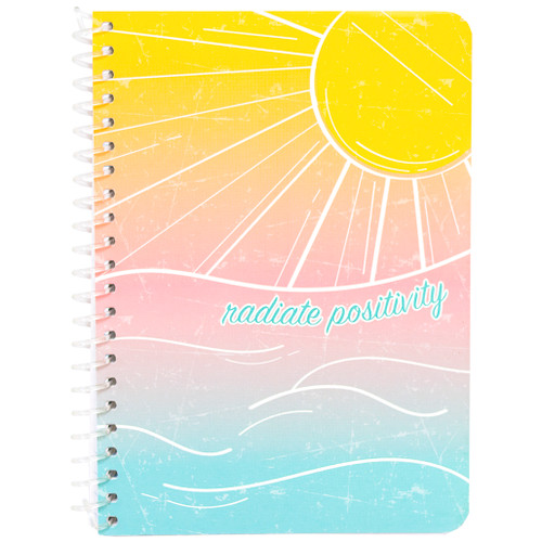 """Uptown Girl Radiate Positivity Personal Wirebound Notebook, College Rule, 7"""" x 5"""", 100 Sheets"""