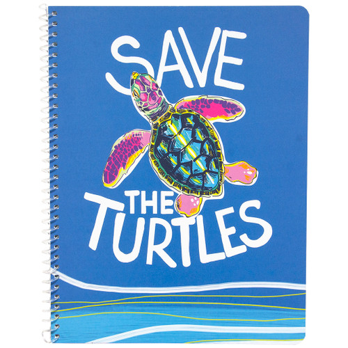 Planet Love Save the Turtles Wirebound Notebook, Wide Rule, 70 Sheets