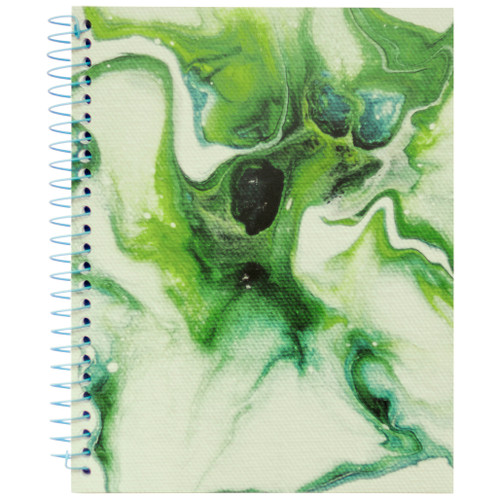 """Lily & Huck Green Swirl Wirebound Journal Notebook, Hard Vinyl Cover, 140 Color Edge Sheets, 8.25"""" x 6.5"""""""