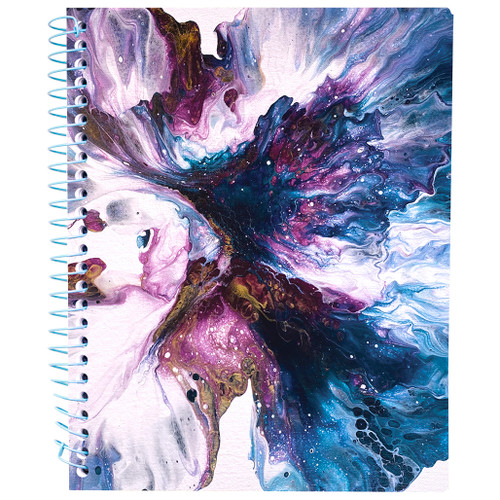 """Lily & Huck Purple Swirl Wirebound Journal Notebook, Hard Vinyl Cover, 140 Color Edge Sheets, 8.25"""" x 6.5"""""""
