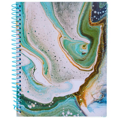 """Lily & Huck Aqua Marble Wirebound Journal Notebook, Hard Vinyl Cover, 140 Color Edge Sheets, 8.25"""" x 6.5"""""""