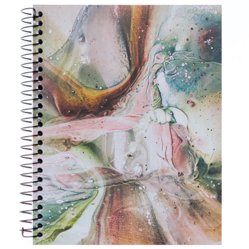 """Lily & Huck Pink & Brown Marble Wirebound Journal Notebook, Hard Vinyl Cover, 140 Color Edge Sheets, 8.25"""" x 6.5"""""""