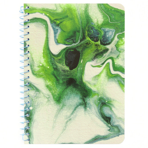 """Lily & Huck Green Swirl Personal Wirebound Notebook, Hard Vinyl Cover, College Rule, 7"""" x 5"""", 100 Sheets"""