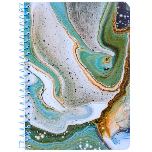 """Lily & Huck Aqua Marble Personal Wirebound Notebook, Hard Vinyl Cover, College Rule, 7"""" x 5"""", 100 Sheets"""