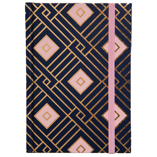 Pink Navy Hardcover Casebound Petite Journal w/ bungee closure, Ruled, 96 Pages, Gold Foil