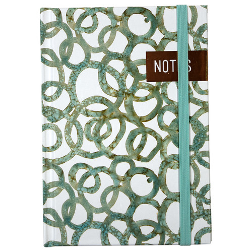 Watercolor Circles Hardcover Casebound Petite journal w/ bungee closure, Ruled, 96 pages, Gold Foil