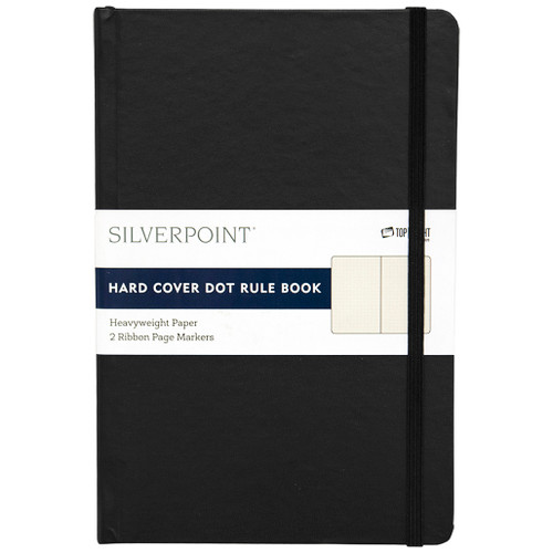 Silverpoint® Leatherette Hard Cover Casebound Journal/Notebook, Dot Ruled, 120 Sheets, Black