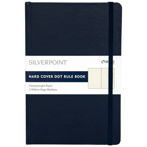 Silverpoint® Leatherette Hard Cover Casebound Journal/Notebook, Dot Ruled, 120 Sheets, Navy