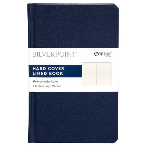 """Silverpoint® Leatherette Hard Cover Casebound Mini Journal/Notebook, Ruled, 96 Sheets, 5.5"""" x 3.5"""", Navy"""