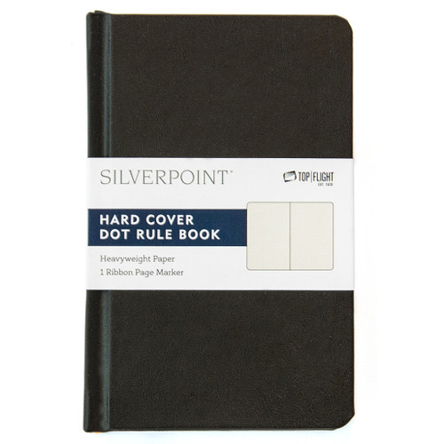 """Silverpoint® Leatherette Hard Cover Casebound Mini Journal/Notebook, Dot Ruled, 96 Sheets, 5.5"""" x 3.5"""", Black"""