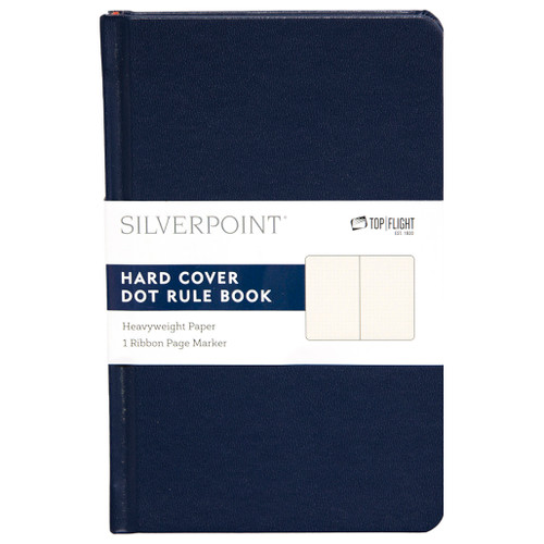 """Silverpoint® Leatherette Hard Cover Casebound Mini Journal/Notebook, Dot Ruled, 96 Sheets, 5.5"""" x 3.5"""", Navy"""