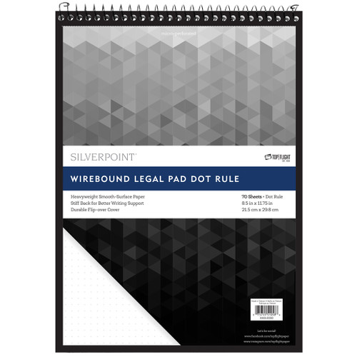 Silverpoint® Top Wire, Dot Ruled Legal Pad, Durable Heavyweight Back, 70 Sheets