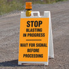 Blasting Barricade Sign Stands - Stop Blasting In Progress