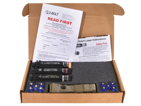 Z-Bolt EOD Kit with (1) Hand Held Tactical EOF Green Dot Laser, (1) Green & (1) Infrared Tripwire Laser Illuminator - Berry Compliant