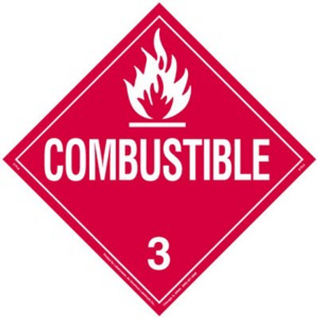 Combustible VPO (sticker) Placard (Closeout - Only 29 Left in Stock)