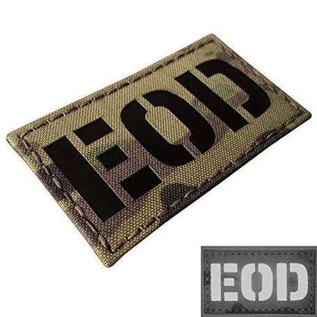MULTICAM INFRARED EOD EXPLOSIVE ORDNANCE DISPOSAL BOMB SQUAD 3.5X2 LASER TACTICAL MORALE TOUCH FASTENER PATCH