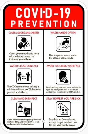 "COVID-19 Prevention Sign Aluminum 12"" x 18"""
