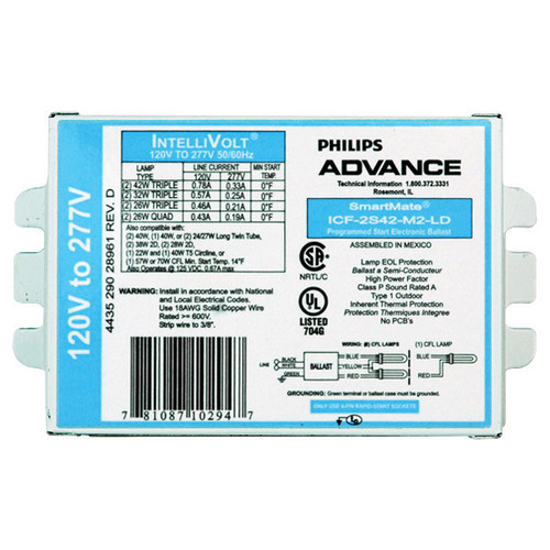 Advance  ICF-2S42-M2-LD Compact Fluorescent Electronic Ballast for 1/2 26W, 32W, or 42W CFL Bulb