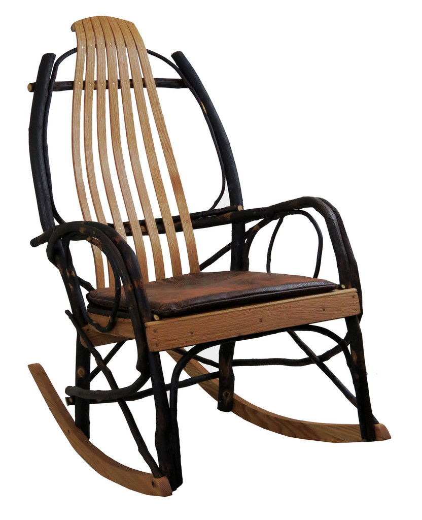 Amish Bentwood Rocker Seat Cushion - Distressed Faux Leather
