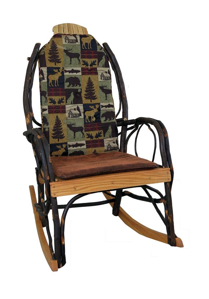 Amish Bentwood Rocker Cushion Set - Brown Cabin Fabric