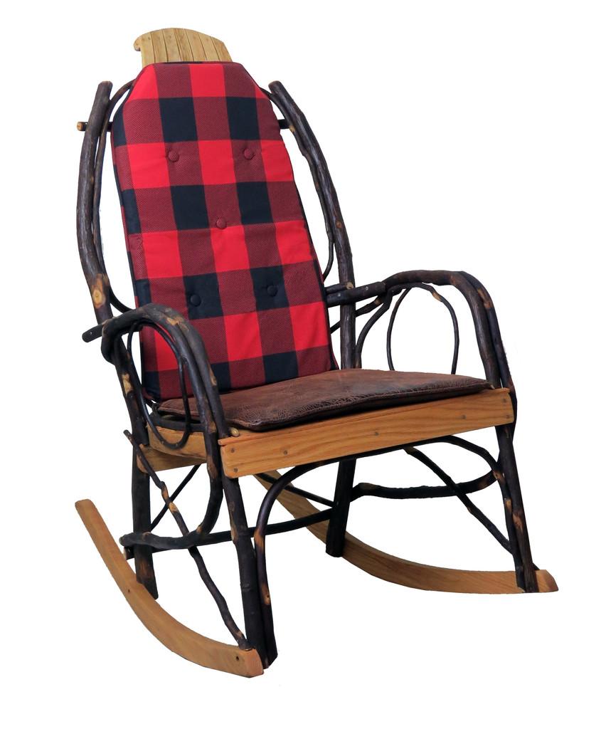 Amish Bentwood Rocker Cushion Set - Buffalo Plaid Fabric
