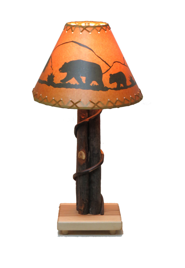 Quick Ship Amish Bentwood Hickory Table Lamp with Shade