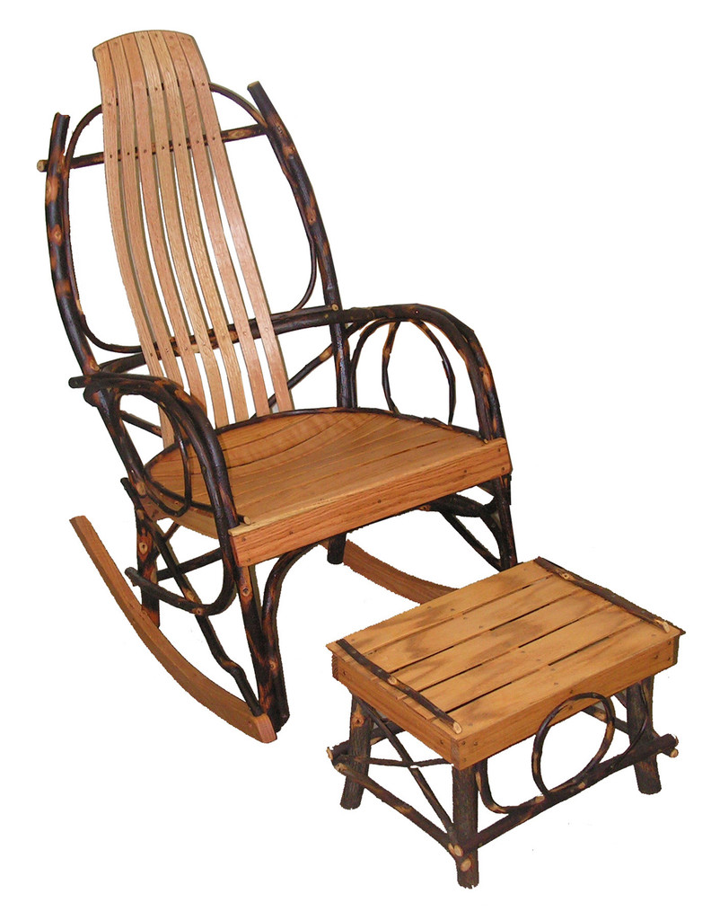 Amish Hickory & Oak Rocking Chair and Foot Stool Set