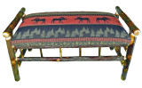 Rustic Hickory Upholstered Bench - Red Moose Fabric