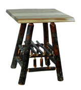 Quick Ship! Live Edge Rustic Hickory End Table - Square
