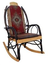 Amish Bentwood Rocker Cushion Set - Red Diamond Fabric