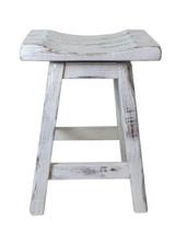 """Swivel Farmhouse White Distressed Barnwood Bar Stools 24"""" or 30""""- Saddle Seat"""