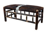 Hair on Hide Leather Upholstered  Hickory Bench with Spindles