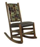 Amish Barnwood Rocker with Upholstered Seat & Back and no Arms